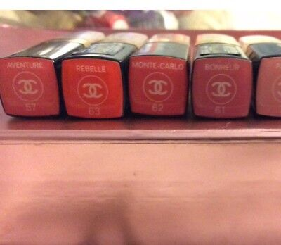 NEW LOT OF 5 Chanel ROUGE COCO SHINE Hydrate Sheer Lipsticks 57, 61, 62, 63, 87