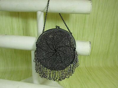 Gorham Sterling Silver Hallmarked Vintage Clutch Style Purse Clip Beaded Dangle