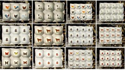 New Ceramic China 6 & 12 Egg Tray / Holder, Chickens, Cows, Bee's & More