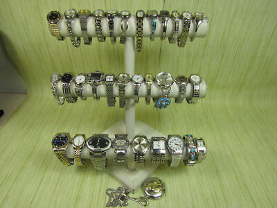 Lot of Silver Tone Jewelry Analog Watches w. Timex Fossil Anne Klein AS IS