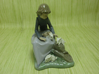 NAO by Lladro Porcelain Figurine Young Girl with Rabbits 1026