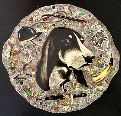 """Rare GIEN 12.6"""" handled cake plate RAMBOUILLET French faience HUNTING DOG"""