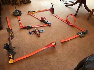 Hot Wheels Track Bundle With 15 Cars Jumps And Launcher And 6 Stunt Stages