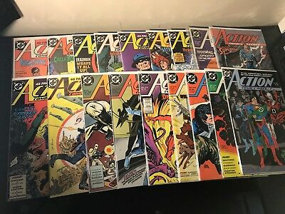 Action Comics lots of 18 issues bagged and boarded excellent condition 1988-1989