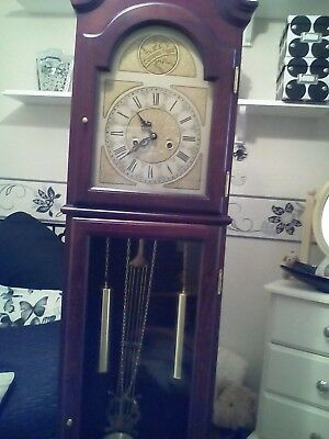 mahogany wood grandfather clock 3 years old in excellent condition