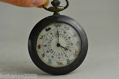 Clock vintage collectible copper 12 zodiac pattern used Mechanical pocket watch