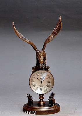 Collectible Decorated Old Brass Carved Eagle Mechanical Table Clock Watches NA24