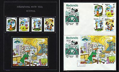 REDONDA - Disney, Youth Year, Twain,  MNH + FDC