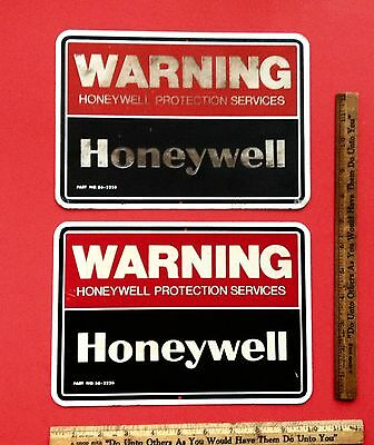 Vintage 1950's 60's 70's METAL Honeywell Warning Sign Man Cave Wall Decor TWO