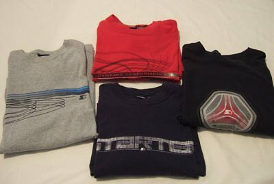 "Lot of 4 Long Sleeve ""Starter"" T-Shirts, Gray, Red, Navy & Black, Size M & L"