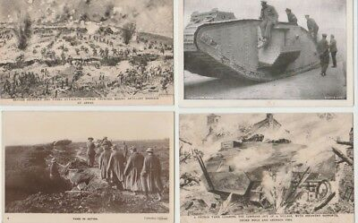 4 First World War  Postcards: Tanks