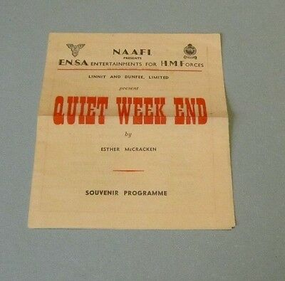 1945 ENSA Entertainments for His Majesty's Forces WWII Quiet Week End Program