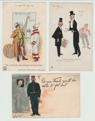 3 Early Artist Drawn Comic Postcards: Phil May