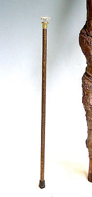 Ladies Walking Cane   Oak Hardwood Shaft   Antigue Glass Palm Knob Handle