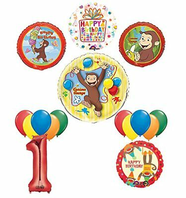 The Ultimate 16pc Curious George 1st birthday party Supplies and Balloon