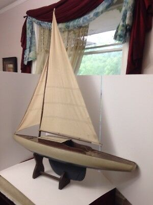 Vintage Model Sailboat 47 in. Tall with Pedestal Stand Nautical Interest Sea