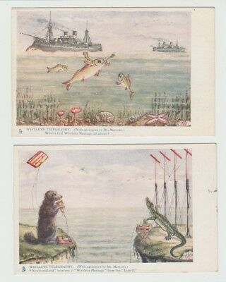 4 Early Tucks Artist Drawn Comic Postcards: Wireless Telegraphy 637