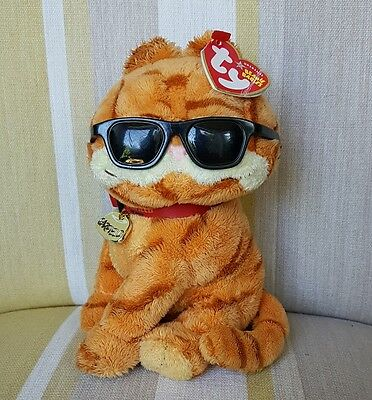 """Garfield Cool Cat Beanie Babies 8"""" plush soft toy from TY with Tags"""