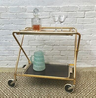 Vintage Folding Drinks Trolley on Wheels #428