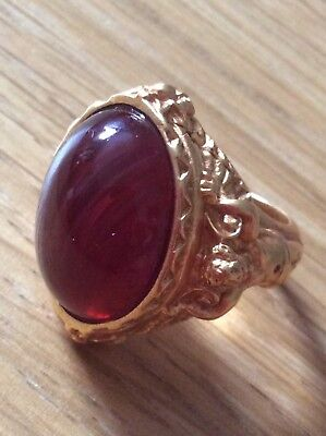 Elizabeth Taylor Avon Gilded Age Collection Faux Ruby 22KT Gold Overlay Ring