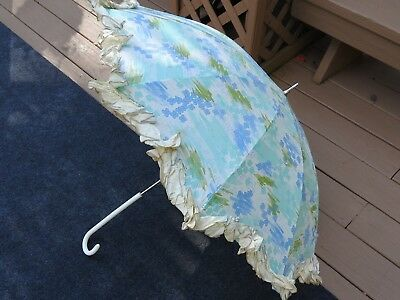 Vintage PK Polan Katz Co. Floral Ruffled Umbrella Parasol