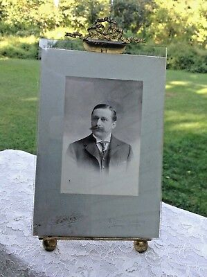 Antique Brass French Bow-Top-Glass Picture Photo Frame-Old Photo-Read