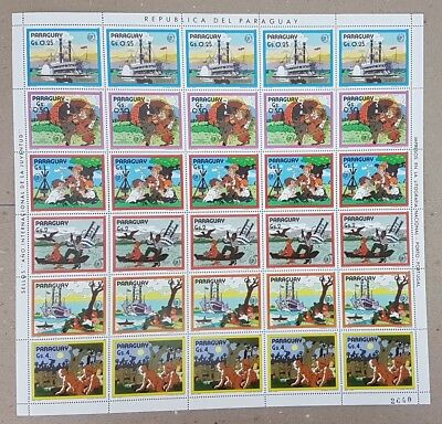 A383 1985 Paraguay Art Animation Mark Twain Tom Sawyer !! Big Sh Folded In 2 Mnh