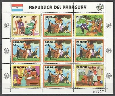 A382 1985 Paraguay Art Animation Cartoons Mark Twain Tom Sawyer 1Kb Mnh