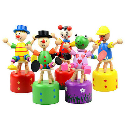 1 Pcs Wooden Clown Puppet Finger Toy Lovely Educational Kids Toy Clown Barrel ST