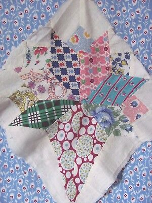 """ALL FEEDSACK BRIDES BOUQUET or NOSEGAY 11.5"""" QUILT BLOCK Hand-Pc'd c1930-40's"""
