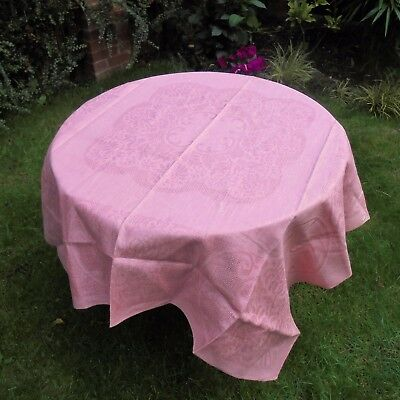 Vintage Pink Damask Irish Linen Tablecloth Unused 50'' by 50''Square Irish Linen