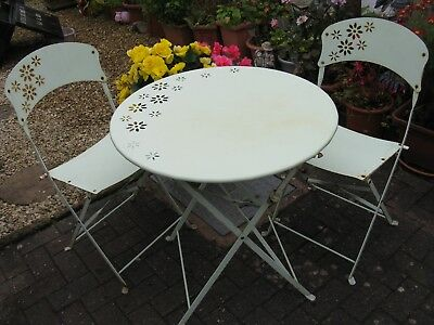 Vintage Green Style Bistro Folding Metal Garden Set, Table & Chairs