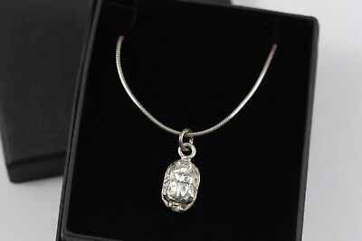 Vintage Silver Scarab Pendant on Sterling Snake Chain Necklace Egyptian