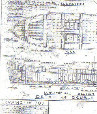 30' Life Boat Transome Sterned Model Ship Plan Drawn By Harold Underhill