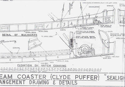 "STEAM COASTER ""CLYDE PUFFER"" SEALIGHT Model Boat Plans $95.00 Value"