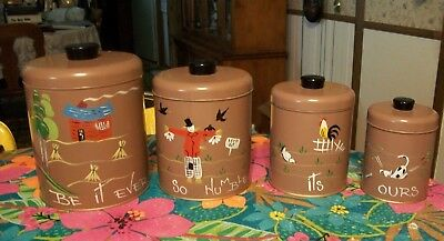 Vintage Ransburg  Hand Painted Kitchen Canister Set               USA