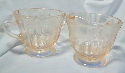 Vintage Indiana  Glass Sugar Bowl and Creamer Set in Pink