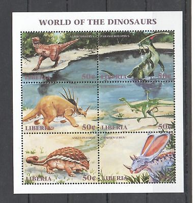 X582 Liberia Fauna Reptiles World Of The Dinosaurs 1Kb Mnh
