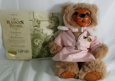 Robert Raikes Bear AMELIA wood face signed with COA #8313 collectible doll