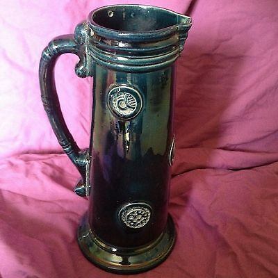 Majolica Ewer Jug Blue coloured 27cm high Art Nouveau style VGC No lid
