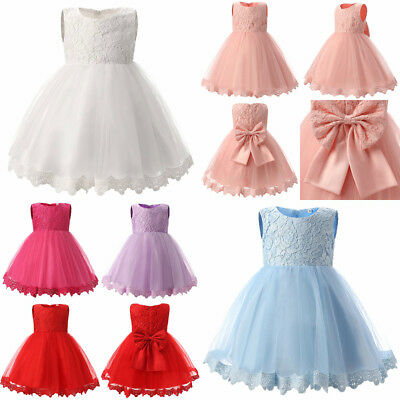 New Princess Baby Girls Dress Flower Christening Lace Wedding Party Kids Clothes