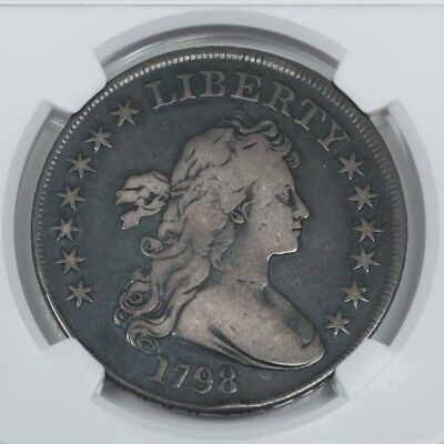 """1798 Draped Bust Silver Dollar NGC F15 """"Highland Collection"""" Large Eagle $1 Coin"""