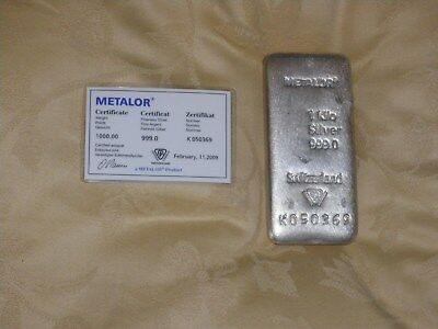 Metalor 1Kg Silver Bar with Certificate of Authenticity