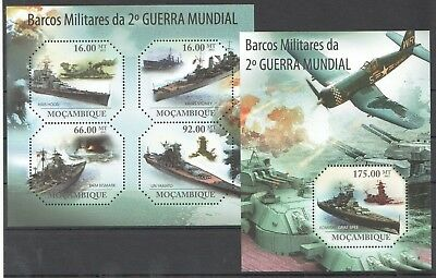 Z616 2011 Mocambique Military & War Ships Barcos Militares Wwii 1Kb+1Bl Mnh