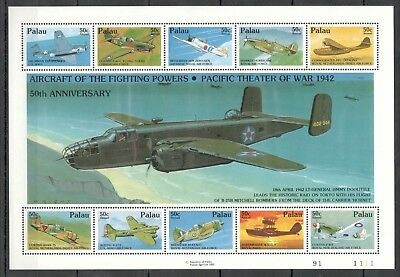 X407 1992 Palau Wwii Aircraft Of The Fighting Powers War 1942 1Kb Mnh