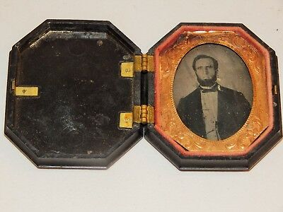 Fantastic Daguerreotype Of Bearded Middle Aged Man, Plastic Case