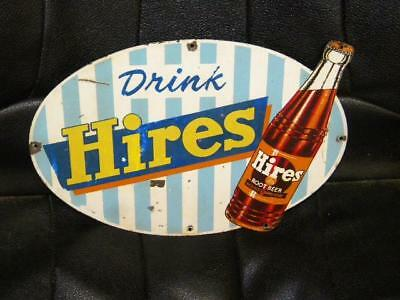 Original Hires Root Beer Diecut Tin Sign Small Version Soda Pop Country Store