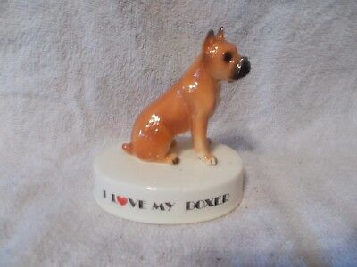 Boxer Dog Figurine I Love My Dog George Good Japan Excellent Condition