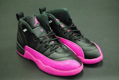 [510816 026] New Kids Air Jordan 12 Retro Gp Black Deadly Pink Pre School Jk3329