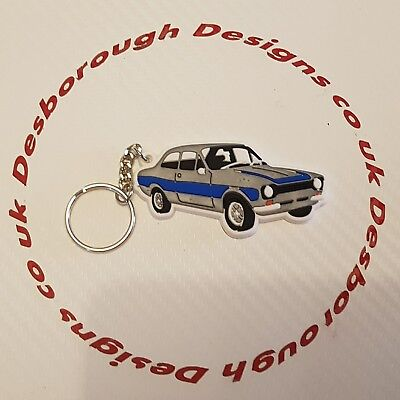 MK1 Escort Key Ring Silver & Blue Key Ring
